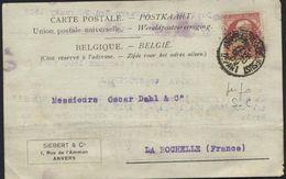PERFORE PERFIN - N°74 Perforé S.C.= Siebert & Co Obl. ANVERS S/CP Vers La Rochelle F 1909 - Perforés