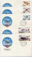 SOVIET UNION 1982 Gliders Set On 5 FDCs.  Michel 5202-06 - 1923-1991 URSS