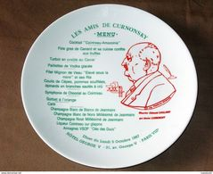 Curnonsky Sailland Menu Cointreau Assiette Souvenir Dîner Georges V 1987 Porcelaine GDA Limoges Angers Lyon Gastronomie - Plates