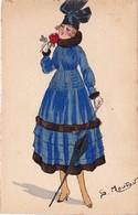 CPA Aquaréllée Peinte à La Main Femme Lady Girl Fraü Mode Chapeau Hat Parapluie Rose Illustrateur G. MOUTON - Andere Zeichner