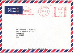 Great Britain Air Mail Cover With Meter Cancel Swindon 17-10-1985 Sent To USA - Covers & Documents