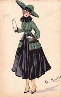 CPA Aquaréllée Peinte à La Main Femme Lady Girl Fraü Mode Chapeau Hat Lecture Illustrateur G. MOUTON - Andere Zeichner