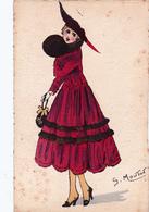 CPA Aquaréllée Peinte à La Main Femme Lady Girl Fraü Mode Chapeau Hat Sac à Main Illustrateur G. MOUTON - Andere Zeichner