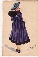 CPA Aquaréllée Peinte à La Main Femme Lady Girl Fraü Mode Chapeau Hat Manchon Illustrateur G. MOUTON - Andere Zeichner