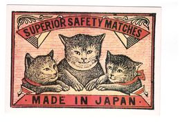 Pub Publicité étiquette Boite D' Allumettes Japonaise Début XXe Siecle Japanese Matchbox CPM N°1 Chat Cat - Publicité