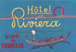 """D7545 """"ITALIA - LIDO DI  VENEZIA -  HOTEL RIVIERA """" ETIC. ORIG. LUGGAGE LABEL - Adesivi Di Alberghi"""