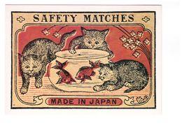 Pub Publicité étiquette Boite D' Allumettes Japonaise Début XXe Siecle Japanese Matchbox CPM N°3 Chat Cat Bocal Poisson - Publicité