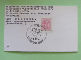 Belgium 1974 Special Cancel Postcard Europa Hands Bruxelles - Belgium