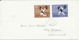 Germany DDR Cover Sassnitz 24-9-1966 With Complete Set WEIGHTLIFTNING Stamps - Weightlifting