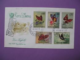FDC   Lettre  San Marino   1963 - Série Farfalle  - Série Papillons N° 599 à 603 - FDC
