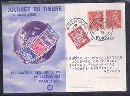 Carte Federale Journee Du Timbre 1939 Pontarlier Mercure Taxe - Lettres & Documents
