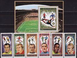 Manama, 1972, Football Players, 6 Stamps + Block - Football