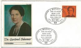 ALEMANIA 1974 FDC BONN GERTRUD BÄUMER - Berühmt Frauen
