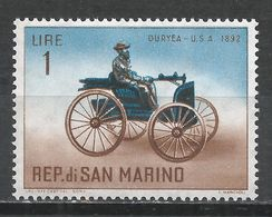 San Marino 1962. Scott #494 (MNH) Automobile' Duryea 1892 * - Saint-Marin