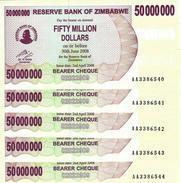 ZIMBABWE 50 MILLION DOLLARS 2008 P-57 NEUF [ZW148a] 5 PCS - Zimbabwe