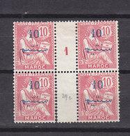 MAROC MOUCHON 29c DANS UN BLOC DE 4 AVEC MILL 1  NEUF SANS GOMME - Marruecos (1891-1956)