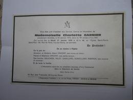 Faire Part Famille Garnier Vincent Salichon Peley Gabillard Dumollard Riberon IVRY SUR SEINE - Décès
