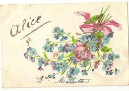4 - Alice - Bouquet De Myosotis - Paillettes - Prénoms