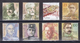 Serbia 2018 History, Great War, WW1, Famous People, Definitive Set, 8 Value, MNH - Serbia