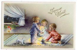 Joyeux Noel --carte Mignonnette -- Enfants  , Bougie Et Chien ( Lettre )---animée - Natale