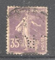 Semeuse 35 Cent. Yv 142  Perforé  LR - France