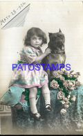 91732 REAL PHOTO GIRL CARESSING DOG YEAR 1926 POSTAL POSTCARD - Photographs