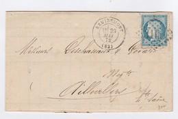 """France : Superbe Lettre Avec 1 N°60 - Un Cachet à Date """"Remiremont Du 29/5/1872, Et Oblitération Losange Gros Chiffres"""". - 1849-1876: Classic Period"""