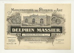 06 VALLAURIS PUBLICITE MANUFACTURE DELPHIN MASSIER POTERIE FAIENCERIE METIER MENTON FORMAT CARTE POSTALE ALPES MARITIMES - Publicités