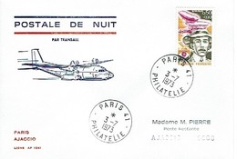 159 Postale De Nuit  Transall  Paris Ajaccio 1973 - Aéreo