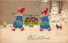 CPA  DESSIN ENFANT ENFANTS CHIEN CHROMOLITHO CARD CHILD CHILDREN WITH DOG FRITZ BAUMGARTEN - Baumgarten, F.