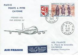 175 Oblitération Paris  Gare Plm Avion  Vignette Air France  Label Air Mail  Cayenne - Poste Aérienne