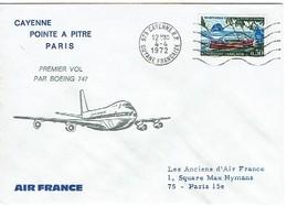 174 Air France Cayenne Martinique   Paris  Boeing 747  Obl Rouge Au Dos - Poste Aérienne