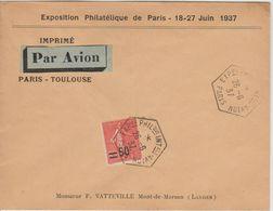 France 1937 Expo Paris 1937 Oblitération Avion - Poste Aérienne