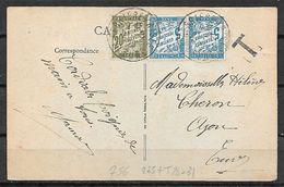 FRANCE Taxe 28 Et 31sur Cp VILLERS COTTERETS Au Recto 235 + DAGUIN - Marcophilie (Lettres)