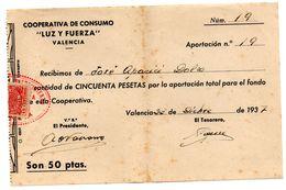 Recibo De Cooperativa De Consumo Luz Y Fuerza De 1937 - España