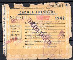 Cedula Personal  Valencia De 1942 - Spain