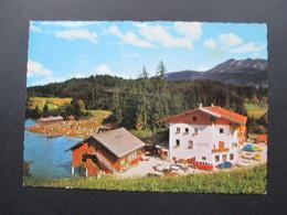 AK Österreich 1965 Hotel Krummsee, Kramsach. Tirol. Alte Autos / Oldtimer. VW Bulli T1 Samba. VW Käfer - Hotels & Gaststätten