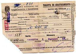 Tarjeta De Abastecimiento  Y Transportes De 1948 - España