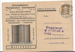 W259 / Drucksache, Werbekarte 1929 Aus Waldkirchen-Zschopental (Erzgebirge) Nach Bregenz - Briefe U. Dokumente