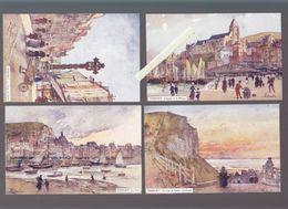 Seine Maritime - Le Tréport - Lot De 4 Aquarelles F.Leteurtre - Port, Falaise, Eglise Et Musoir, Croix De Pierre - Le Treport