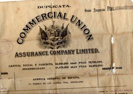 Papel Hoja De Assegurance Company Limited, Union Comercial De 1925 - España