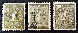 EMISSION 1883/90 - OBLITERES - YT 17 - MI 17 - VARIETES DE TEINTES ET D'OBLITERATIONS - Niederländisch-Indien