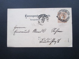 Österreich 1886 Ganzsache Stempel Hochstadt AD Iser / Tschechischer Stempel AK Stempel Budapest - 1850-1918 Imperium