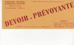 Buvard Assurances DEVOIR Et PREVOYANCE - Bank & Insurance