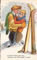 (ski, Humour) Amour Brûlant, Vers 1950. Etat LUXE. - Sports D'hiver