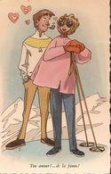 (ski, Humour) Amour En Fumée, Vers 1950. Etat LUXE. - Sports D'hiver