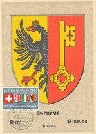 D33168 CARTE MAXIMUM CARD FD 1965 SWITZERLAND - COAT OF ARMS EAGLE CITY OF GENEVA CP ORIGINAL - Maximum Cards