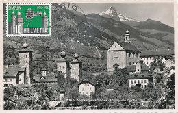 D33170 CARTE MAXIMUM CARD TRIPLE 1956 SWITZERLAND - BRIG CASTLE CP ORIGINAL - Maximum Cards