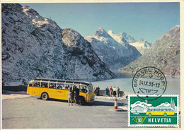 D33171 CARTE MAXIMUM CARD 1956 SWITZERLAND - TRANSPORT BUS STATION CAR GRIMSEL CP ORIGINAL - Maximum Cards