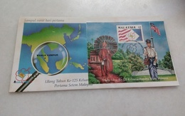 Malaysia FDC 125th Years Of First Malaysian Stamp With Foxing - Malaysia (1964-...)